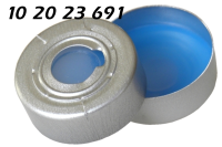 102023691 Boerdelkappe ALU Ueberdrucksicherung 20mm HS headspace 10mm-Loch crimp cap SIL-blau-PTFE 3.0mm 10-20ml Agilent5183-4478 Bruker Dani Finnigan PEB0104241 Shimadzu Thermo Varian ND20 N20 GC 75M