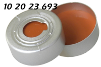 102023693 Boerdelkappe ALU Ueberdrucksicherung 20mm HS headspace 10mm-Loch crimp cap SIL-orange-PTFE 3.0mm 10-20ml Agilent5183-4478 Bruker Dani Finnigan PEB0104241 Shimadzu Thermo Varian ND20-N20-GC75M