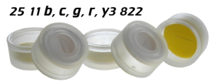 2511b3822 2511c3822 2511g3822 2511r3822 2511y3822 Schnappkappe Snap Top Caps Snap on cap snap seal push on Kappe 11mm SIL-PTFE 0.9-1.0mm geschlitzt single slit 12x32mm ND11 N11 CE GC HPLC 117 MULTI