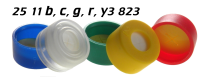 2511b3823 2511c3823 2511g3823 2511r3823 2511y3823 Schnappkappe Snap Top Caps Snap on cap snap seal push on Kappe 11mm SIL-PTFE 0.9-1.0mm Kreuz-Schlitzt X-slit 12x32mm ND11 N11 CE GC HPLC 117 MULTI