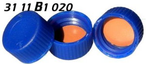 3111b1020 Schraubkappe Kunststoff PP blau geschlossen blue screw cap wide mouth solid top seal closure NK PTFE 1.0mm 9 425 ND9 0915 1887 CE GC HPLC 60