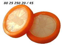 802525020 802525045 25mm PP orange Spritzenfilter Einmalfilter 0.20my 0.45my CA Cellulose-Acetat hydrophil syringe-membrane-filter light-orange Cellulose-Acetate hydrophilic CE GC HPLC 90